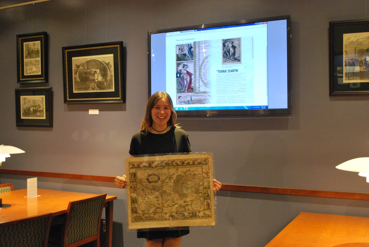 An awesome photo of me with the REAL map in the Special Collections Department in the Musselman Library!